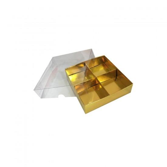 Asetat Kapaklı Karton Kutu 15x15x3 CM 4 Bölmeli Kutu (10 Adet)