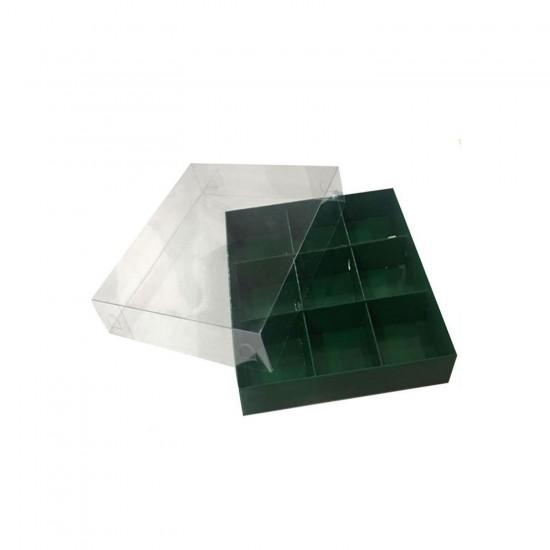 Asetat Kapaklı Karton Kutu 15x15x3 CM 9 Bölmeli Kutu (10 Adet)