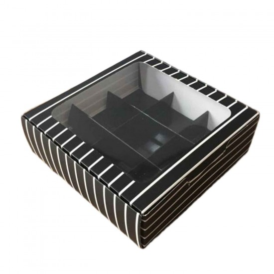 Asetat Pencereli Karton Kutu 15x15x5 CM 9 Bölmeli Kutu (10 Adet)