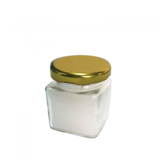 Cam Şişe Kare 50 CC Mumlu Kavanoz Kapklı (6 Adet)