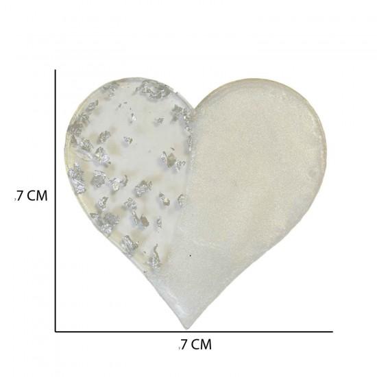 Epoksi  Magnet Gold Gümüş Varaklı Kalp Model 7 CM  (10 Adet)