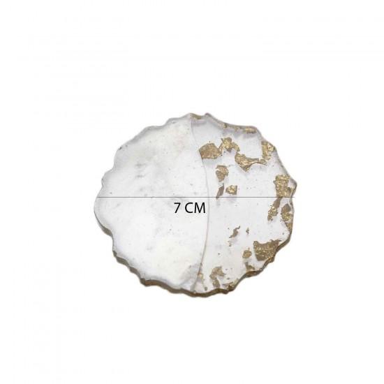Epoksi Magnet Tırtıklı  Varaklı Yarısı Şeffaf  7 CM  (10 Adet)