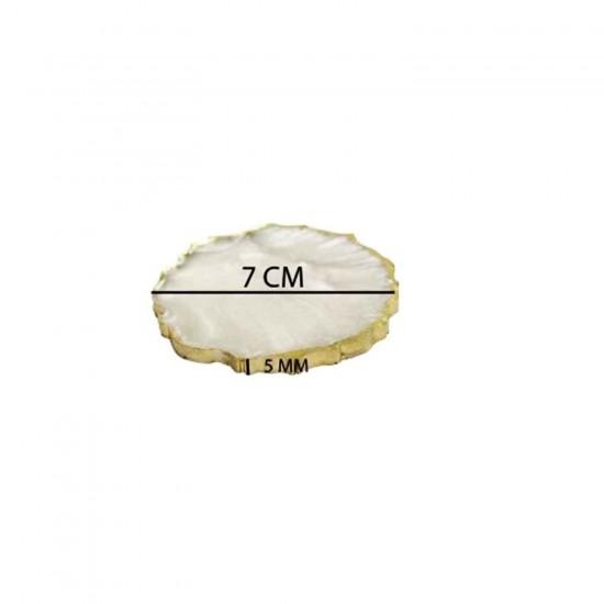 Epoksi Magnet  Yanı Gold Gümüş Varaklı 7 CM  (10  Adet)