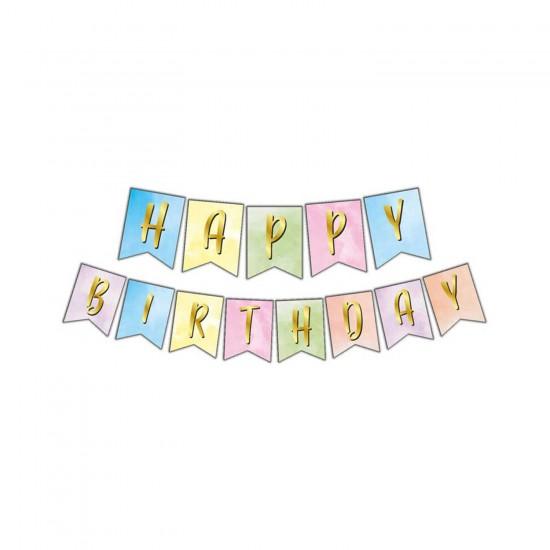 Flama Karton Bayrak Happy Birthday Yazılı Makaron Uzar Set 180 CM