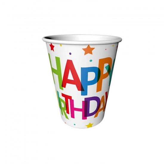 Happy Birthday Karton Bardak Superstar Temalı  220 CC (8 Adet)