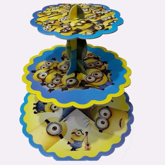 3 Katlı Karton Cupcake Standı Minyonlar Temalı Kek Standı