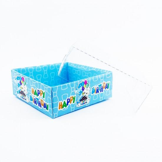 Asetat Kapaklı Karton Kutu 1 Yaş Happy Birithday  8X8X3  (50 Adet)