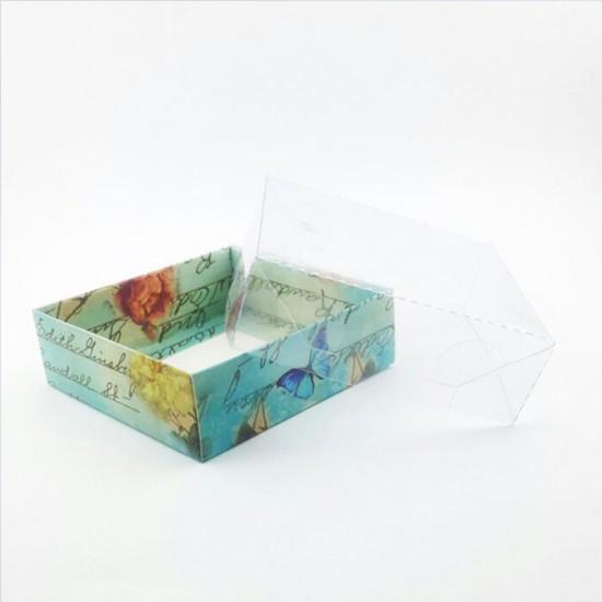 Asetat Kapaklı Karton Kutu Güllü Mor Kelebekli 9X9X3  (50 Adet)