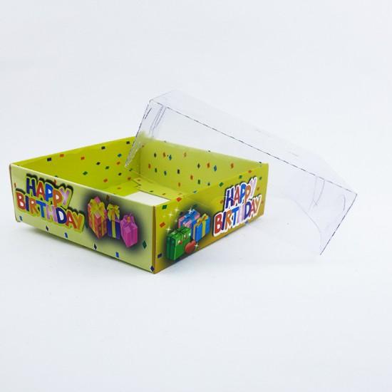 Asetat Kapaklı Karton Kutu Happybrithday Yazılı 9X9X3 (50 Adet)