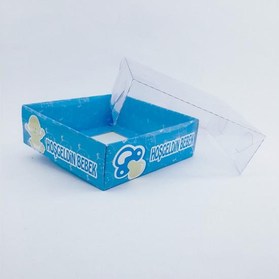 Asetat Kapaklı Karton Kutu Hoşgeldin Bebek  9X9X3  (50 Adet)