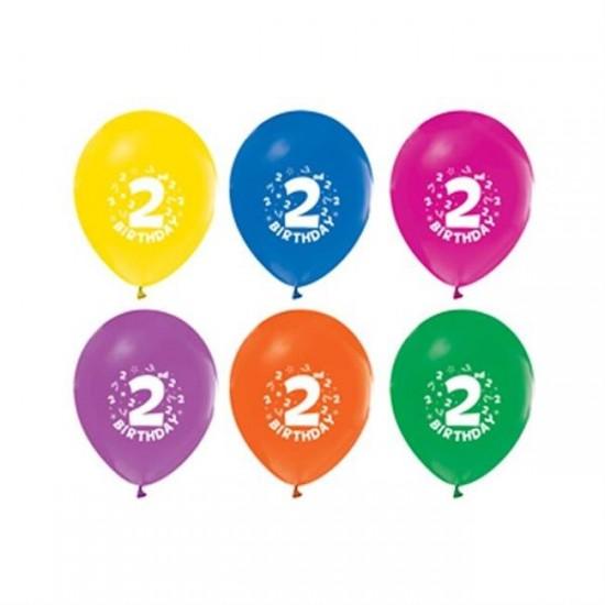 Balon 1+1 Hapy Bırthday 2 Yaş Baskılı (20 Adet)