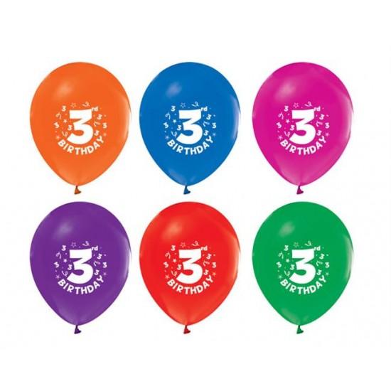 Balon 1+1 Hapy Bırthday 3 Yaş Baskılı Pastel (20 Adet)