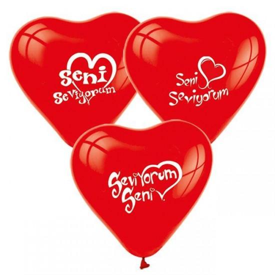 Balon 1+1 Seni Seviyorum Kalp Kırmızı (20 Adet)