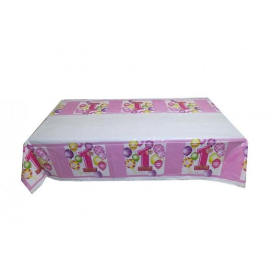 Masa Örtüsü 1 Yaş Balonlu  Happybırthday 108X180Cm