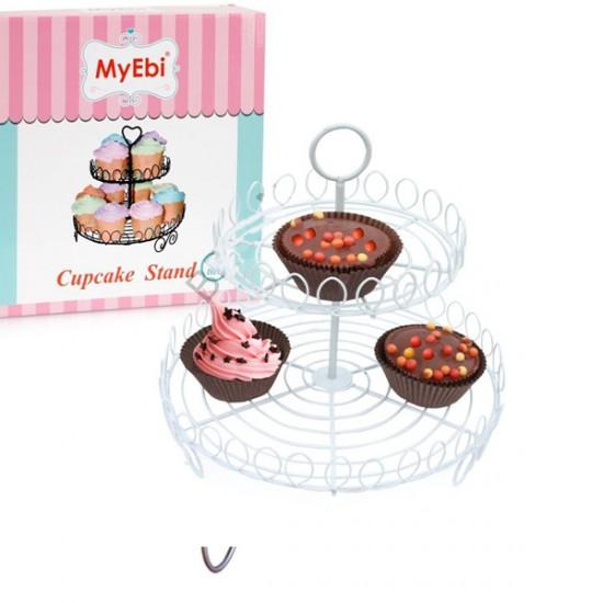 Metal Cupcake Standı 2 Katlı Beyaz Kek Standı
