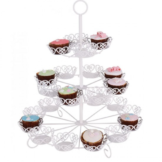 Metal Cupcake Standı 3 Katlı / 24Lü Kek Standı