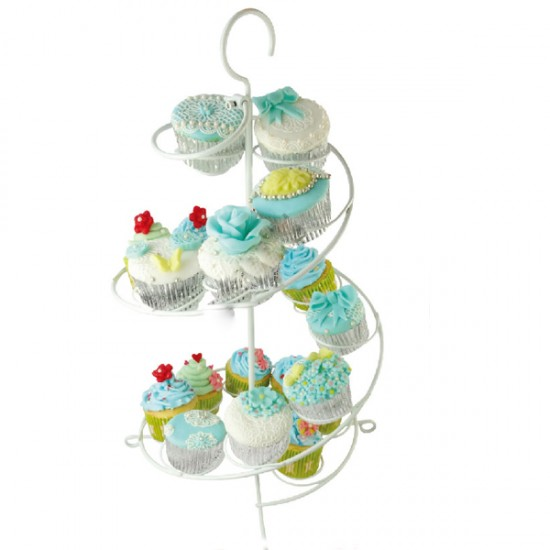 Metal Cupcake Standı Beyaz / 15Li Kek Standı