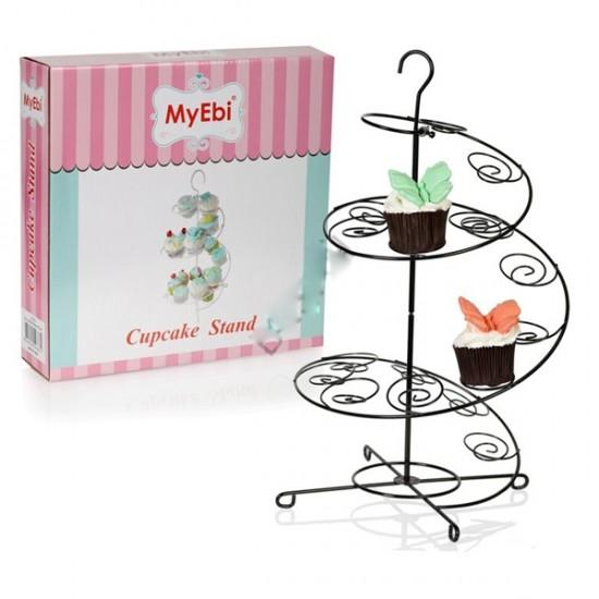 Metal Cupcake Standı Siyah / 15Li Kek Standı