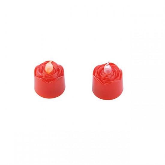 Mum Tlayt Pilli Gül Modeli Kırmızı (24 Adet)