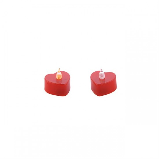 Mum Tlayt Pilli Kalp Modeli Kırmızı (24 Adet)