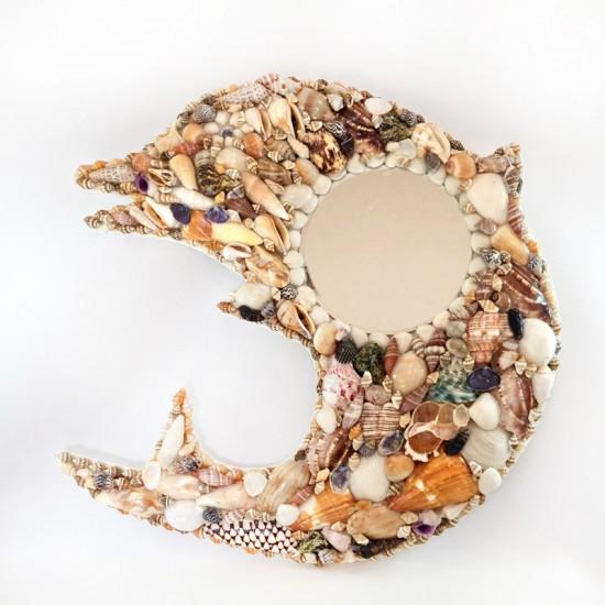 Yunus Balığı Deniz Kabuğu Kaplamalı Ayna