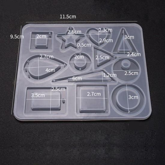 Epoksi Silikon Kalıp 12 li Ortası Açık Şekiller Takı Kalıbı E125