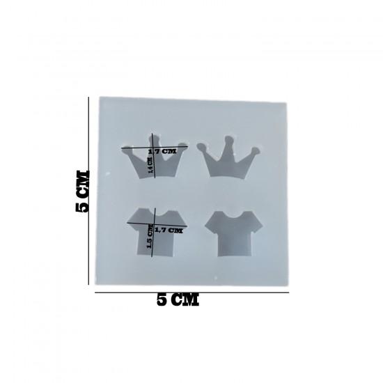 Epoksi Silikon Kalıp Dörtlü Minik Kral Taç Ve Elbise 5X5 CM E145