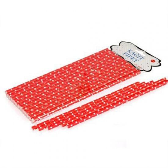 Pipet Beyaz Puantiyeli Kırmızı Kağıt (25 Adet)