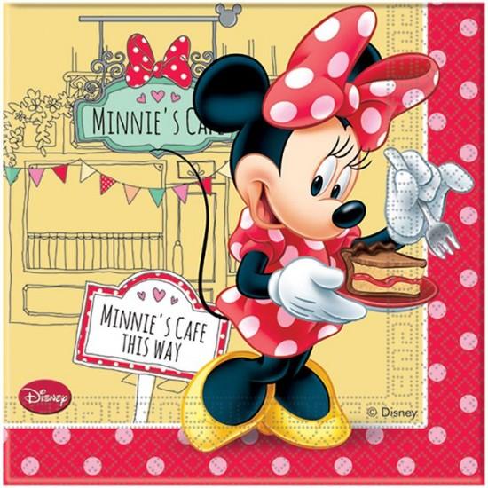 Minnie Mause Cafe Temalı Kağıt Peçete 33X33 Cm (20 Adet)