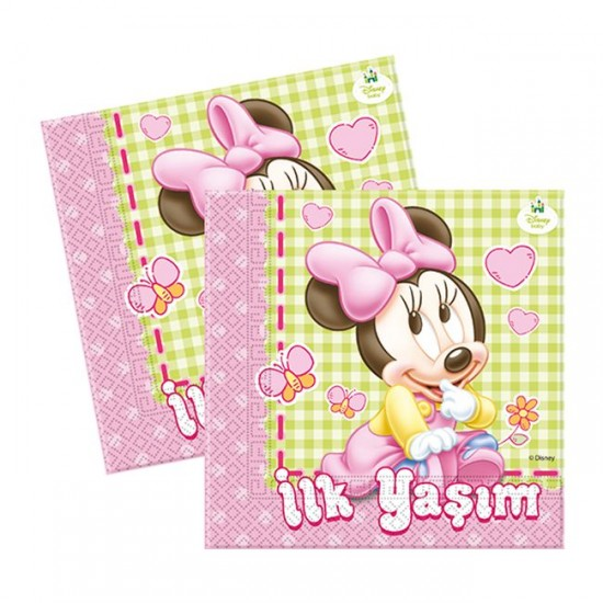 Minnie Disney Baby Temalı Kağıt Peçete 33*33 (16 Adet)
