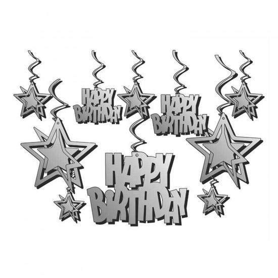 Karton Üç Boyutlu Metalize Happy Birthday Orta Asma Süs 10 lu Set