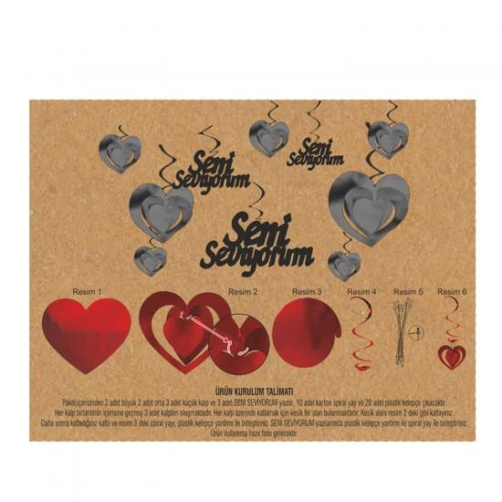 Karton Üç Boyutlu Metalize Seni Seviyorum Orta Asma Süs 10 lu Set