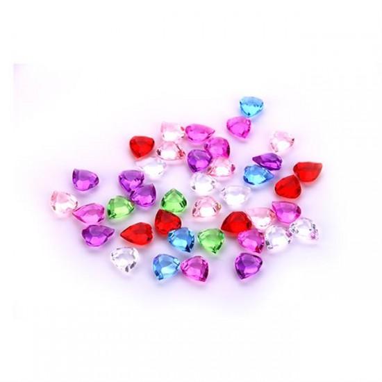 Masa Üstü Süsleme Taşı Kalpli Karışık Renk  (122 Adet)