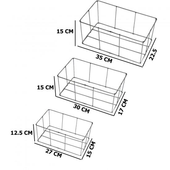 Metal Makrome Kalıbı Üçlü Sepet Seti
