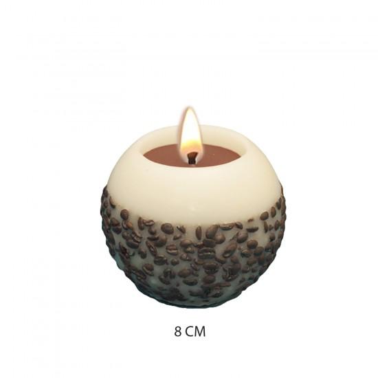 Dekoratif Mum Kahve Çekirdekli Temalı Top  Model 8 CM