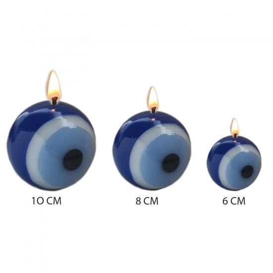 Dekoratif Mum Nazar Boncuklu Model Üçlü Set