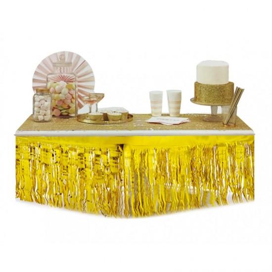 Masa Kenarı Eteği Ve Fon Süsü Metalik Altın/Gümüş