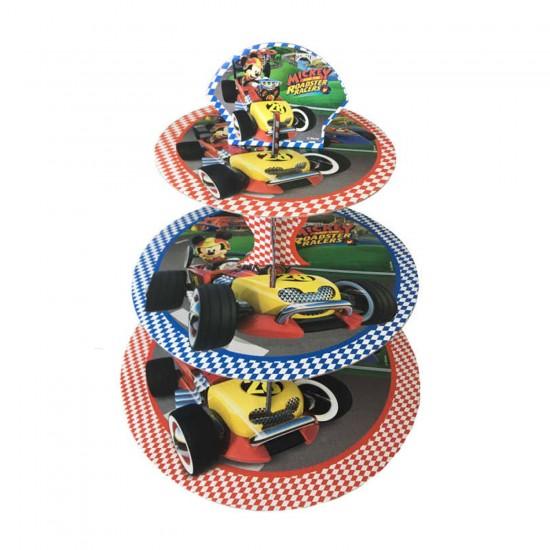 3 Katlı Karton Cupcake Standı Mickey Mause Roadster Temalı