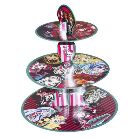 3 Katlı Karton Cupcake Standı Monster High Temalı Kek Standı