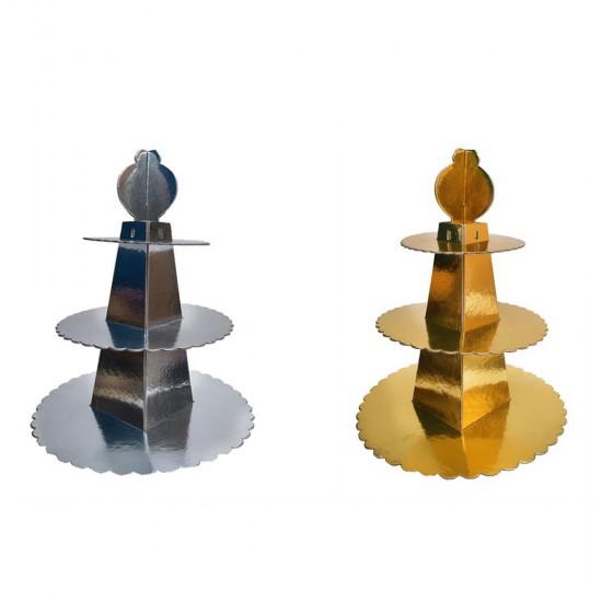 3 Katlı Karton Cupcake Standı Piramit Modeli Altın/Gümüş
