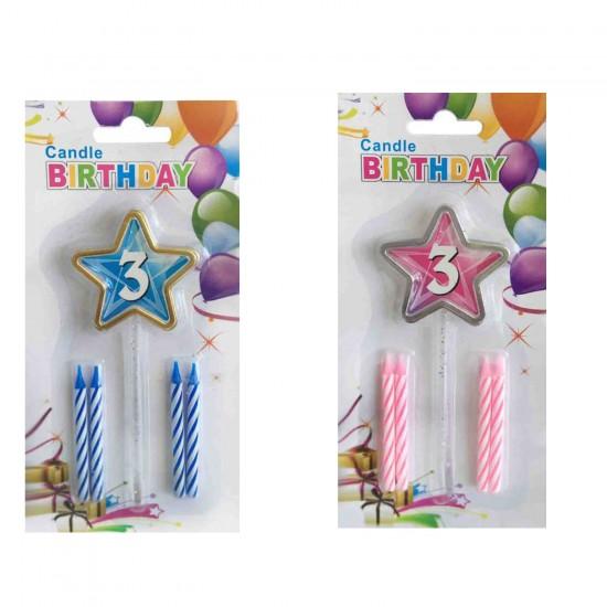 Doğum Günü Mumu 3 Yaş İçin Mum Yıldızlı 5 Li Set