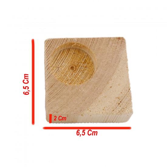 Ahşap Ağaç Kare Standart Tealight Mumluk 6,5X6,5X2 CM (10 Adet )