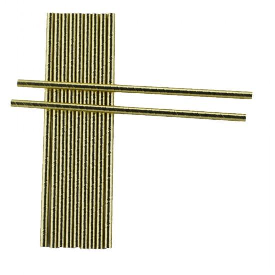 Altın Renkli Kağıt Pipet (25 Adet)