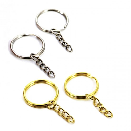 Anahtarlık Halkası Zincirli  4 CM Altın/Gümüş Renk (50 Adet)