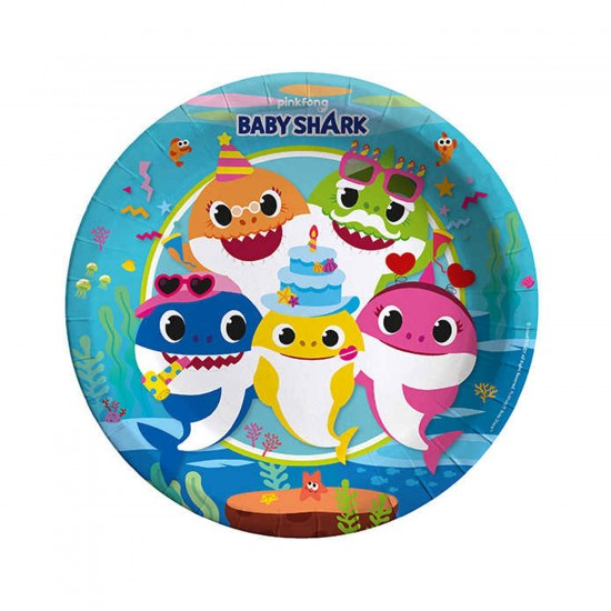 Baby Shark Temalı Karton Tabak 23 CM (8 Adet)