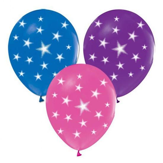 Balon 12 İnç  Çepeçevre Yıldızlı Model Karışık Renk (20 Adet)