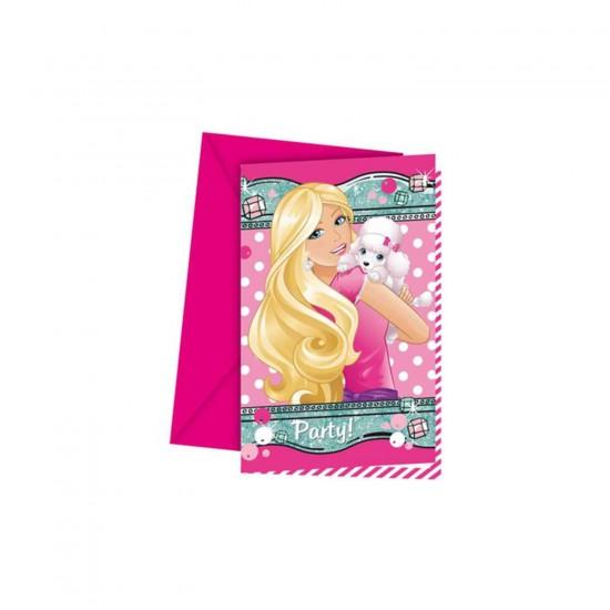 Barbie Elegant Temalı Davetiye Parti Davetiyesi (6 Adet)