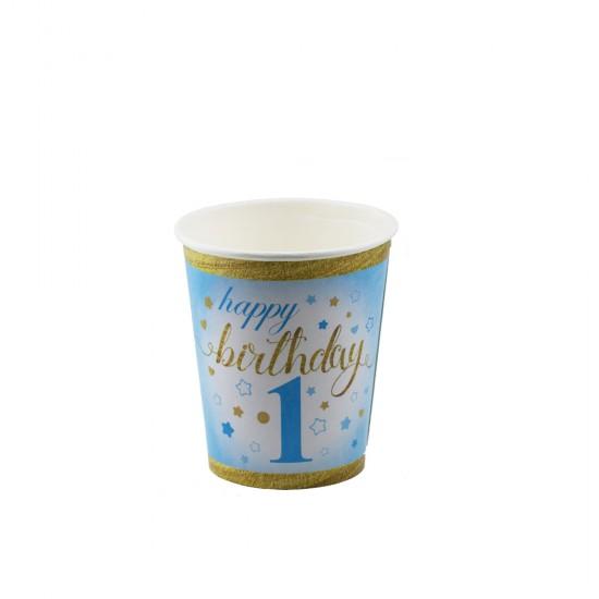 Bardak Karton 1 Yaş Happy Birthday Yıldızlı (8 Adet)