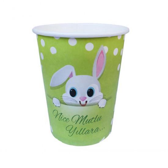 Bardak Karton Tavşan Resimli (8 Adet)