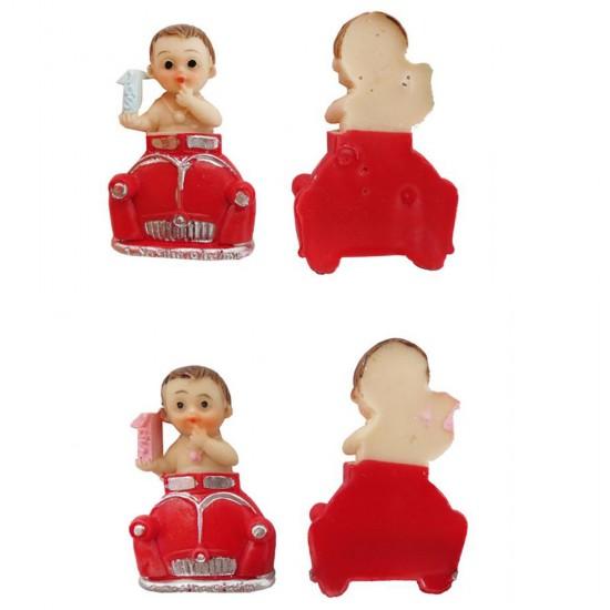 Bebek Şekeri Biblosu Bir Yaş Bebek Kırmızı Arabada (20 Adet)